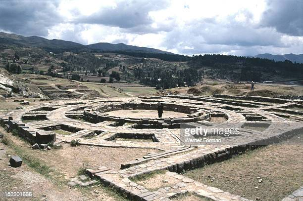 Sacsahuaman the Inca temple and fortress overlooking Cuzco Detail showing base of giant tower used for astronomical and water rituals Peru Inca...