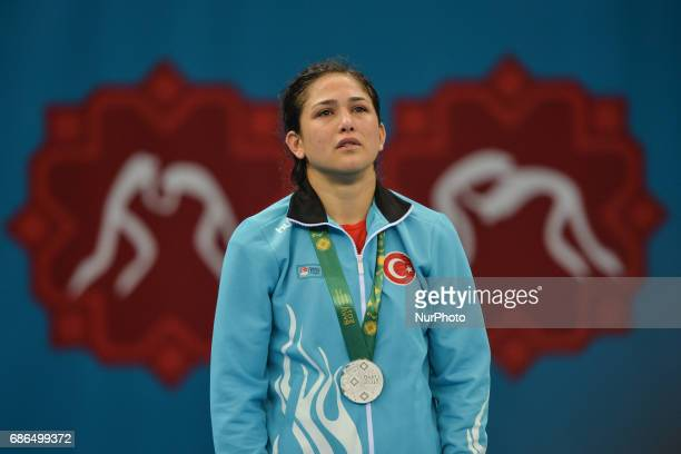Sad and crying Hafize Sahin of Turkey after she lost against Blessing Oborududu of Nigeria in the Women's Freestyle 63kg Wrestling final during Baku...