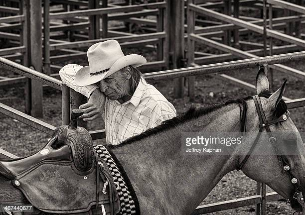 Sad and tired cowboy with horse in corral. Cowboy hat and saddle.