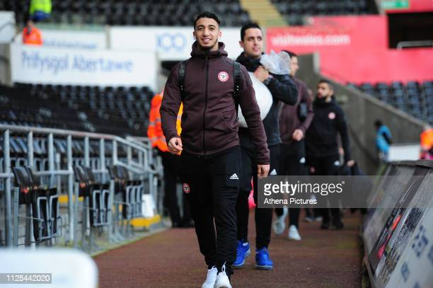 Saïd Benrahma of Brentford arrives for the FA Cup Fifth Round match between Swansea City and Brentford at the Liberty Stadium on February 17 2019 in...