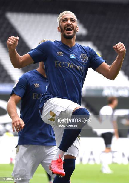 Saïd Benrahma of Brentford celebrates scoring the second goal during the Sky Bet Championship match between Derby County and Brentford at Pride Park...