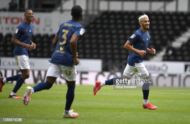Saïd Benrahma of Brentford celebrates scoring the third goal during the Sky Bet Championship match between Derby County and Brentford at Pride Park...
