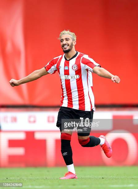Saïd Benrahma of Brentford FC celebrates after scoring his sceond goal during the Sky Bet Championship match between Brentford and Wigan Athletic at...