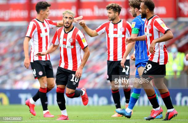 Saïd Benrahma of Brentford FC celebrates scoring the first goal during the Sky Bet Championship match between Brentford and Wigan Athletic at Griffin...