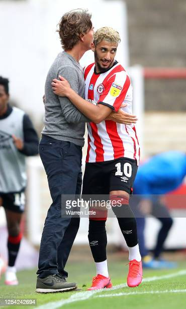 Saïd Benrahma of Brentford FC is congratulated by manager, Thomas Frank after scoring his sceond goal during the Sky Bet Championship match between...