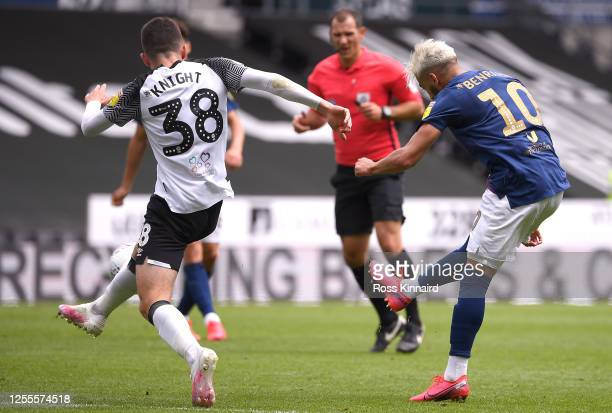 Saïd Benrahma of Brentford scores the third goal during the Sky Bet Championship match between Derby County and Brentford at Pride Park Stadium on...