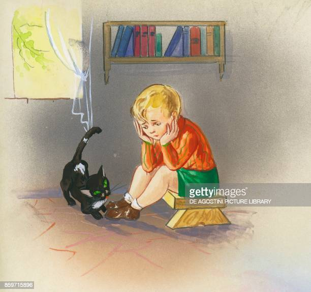 A sad boy in his room with a black cat children's illustration drawing