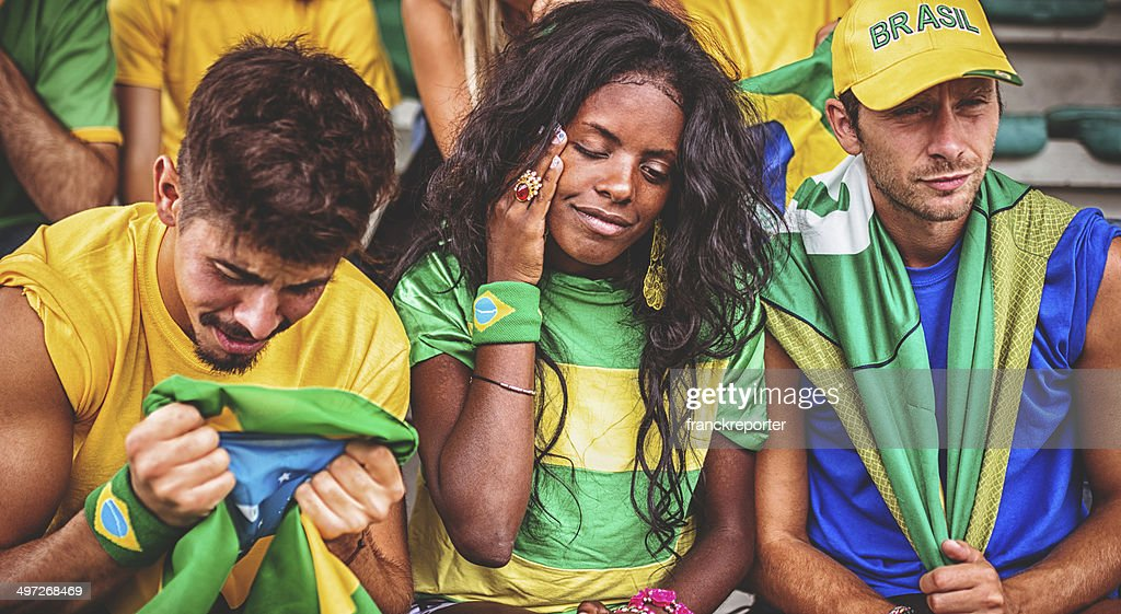 Traurig brasilianische Fan im Stadion : Stock-Foto