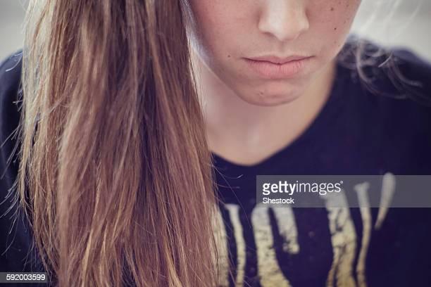 Sad Caucasian teenage girl