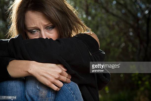 sad desperate young caucasian woman under great stress - suicide stock photos and pictures