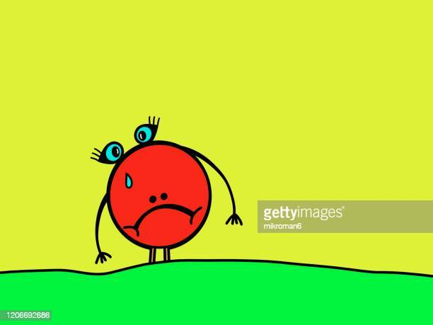 sad drawing abstract face - two tone color stock pictures, royalty-free photos & images