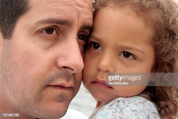 Sad Father and Daughter Portrait