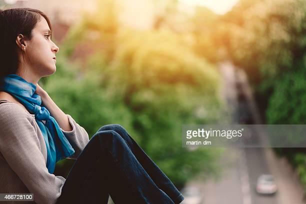Sad girl outside