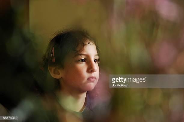 sad girl staring
