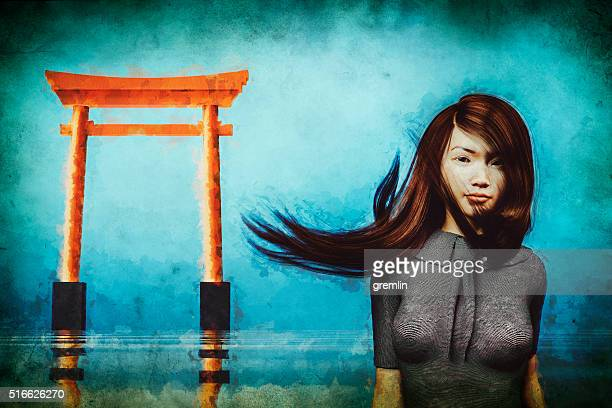Sad Japanese woman in derelict shrine