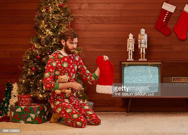 Sad lanky man-boy gets nothing in his stocking.