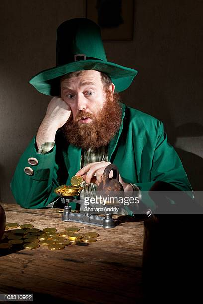sad leprechaun count coins