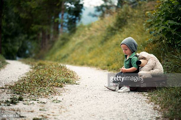 Sad Little Child Traveling