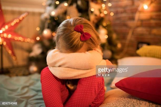 Sad little girl for Christmas
