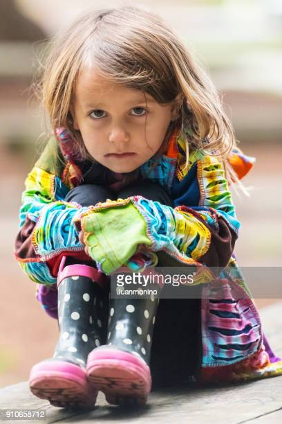 sad little girl - sadgirl stock pictures, royalty-free photos & images