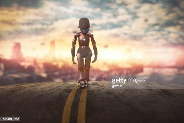 Triste petit robot, laissant la ville