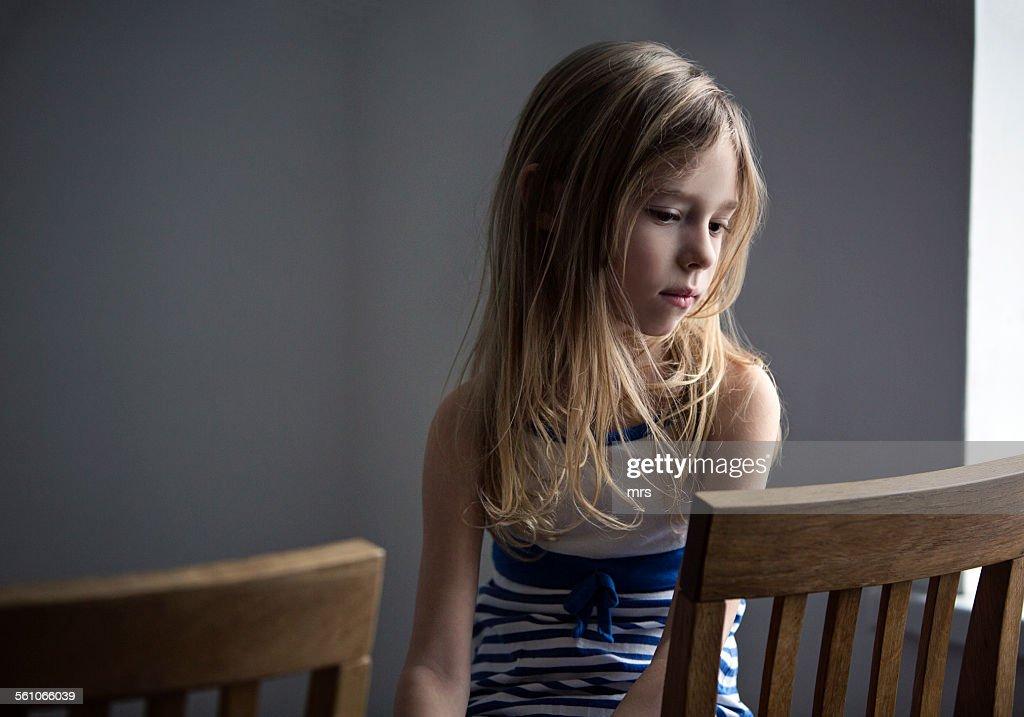 Sad looking girl : Stock Photo