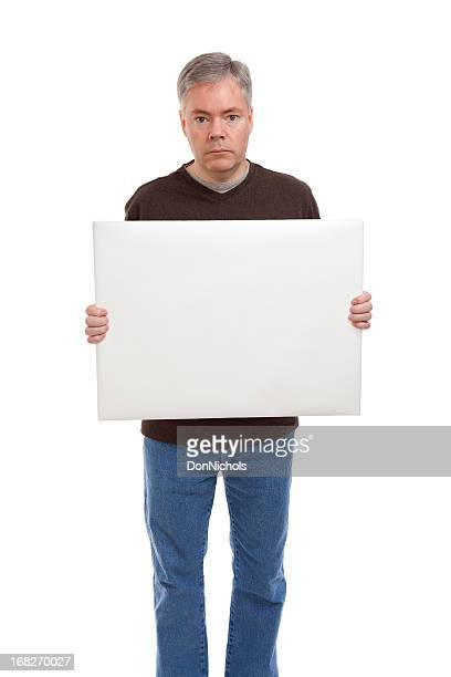 sad man holding a blank sign - blank sign stock photos and pictures