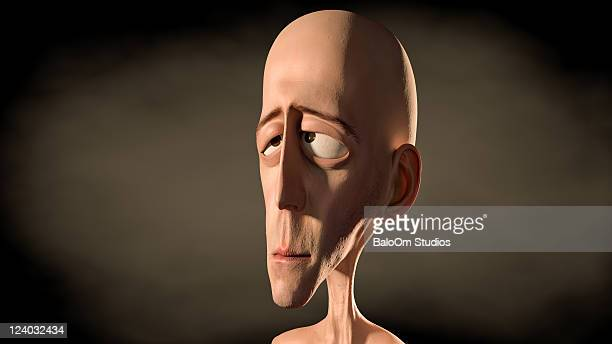 Sad man in 3d cartoon