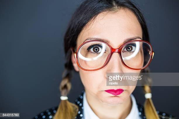 Sad nerd girl