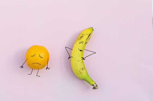 sad orange and happy banana.Diet  concept - gettyimageskorea