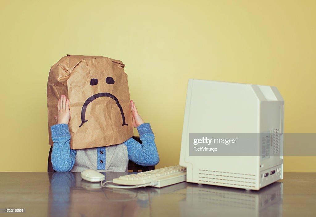 Sad Paper Bag Boy is Cyber Bullying Victim : Stock Photo