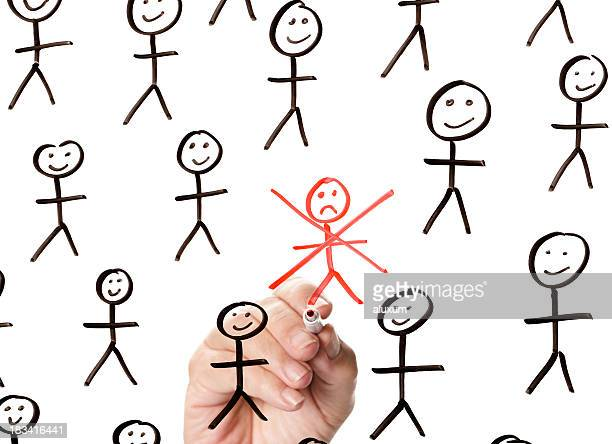 Sad red stickman among several happy black stickmen