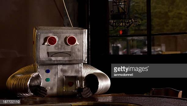 sad robot at bar