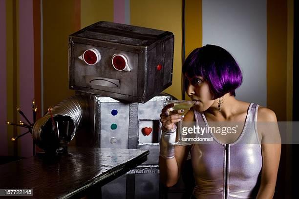 sad robot with spacegirl