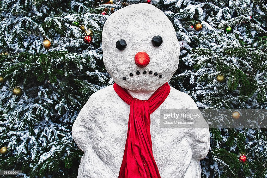 Sad snowman : Stock Photo