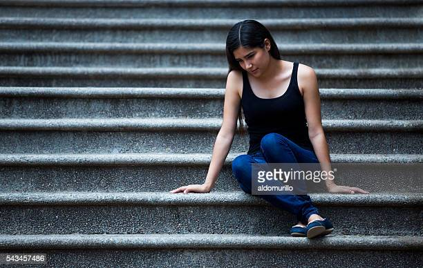 sad young latin woman - beautiful mexican girls stock photos and pictures