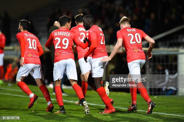Sada Thioub of Nimes celebrates his Goal with his Team during Ligue 2 match between Nimes and AC Ajaccio at Stade des Costieres on February 2 2018 in...