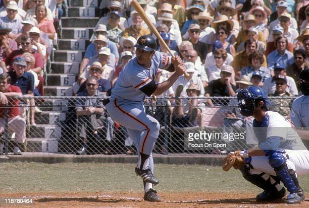 Sadaharu OH of the Yomiuri Giants bats against the Los Angeles Dodgers during exhibition game circa 1970 at Dodger Town in Vero Beach, Florida. OH...