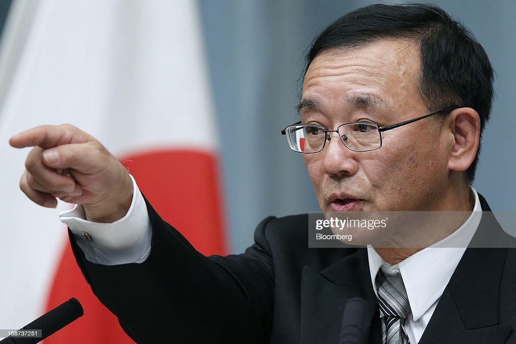 Sadakazu Tanigaki, Japan's newly appointed justice minister, speaks during a news conference at the prime minister's official residence in Tokyo, Japan, on Thursday, Dec. 27, 2012. Japan's parliament confirmed Shinzo Abe as the nation's seventh prime minister in six years, returning him to the office he left in 2007 after his party regained power in a landslide election victory last week. Photographer: Kiyoshi Ota/Bloomberg via Getty Images