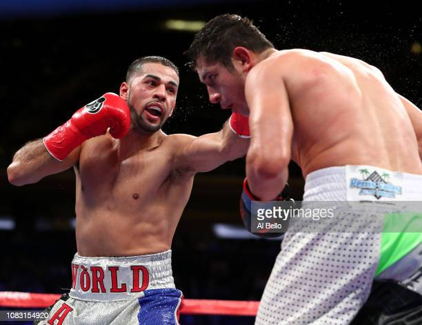 Sadam Ali fights Mauricio Herrera during their Welterweight bout at Madison Square Garden on December 15, 2018 in New York City.