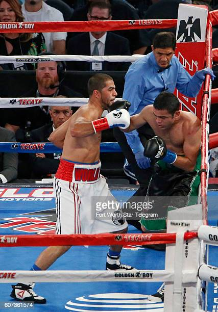 Sadam Ali left defeats Saul Corral in a welterweight bout at ATT Stadium in Arlington Texas on Saturday Sept 17 on the undercard of the the WBO...