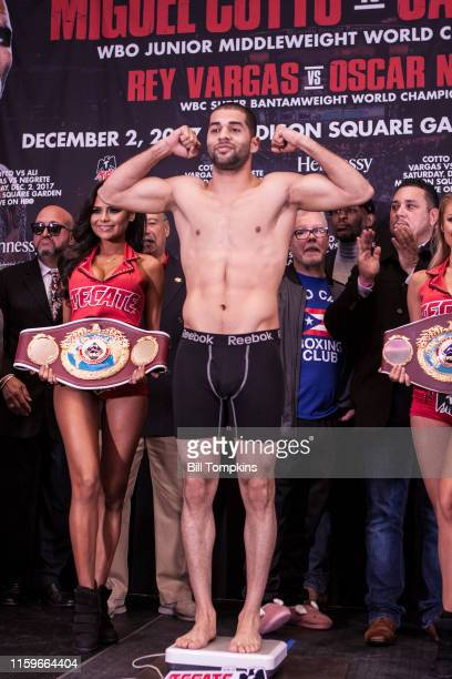 December 1: Sadam Ali poses at thw weigh in prior to his Junior Middleweight fight against Miguel Cotto. Madison Square Garden on December 1, 2017...