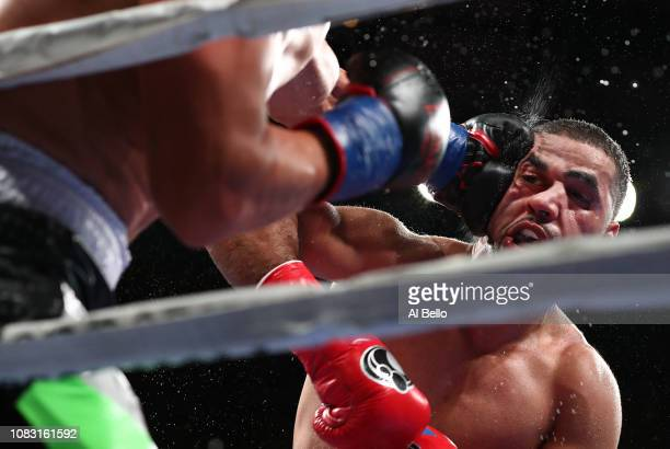Sadam Ali takes a left hand against Mauricio Herrera during their welterweight fightat Madison Square Garden on December 15 2018 in New York City