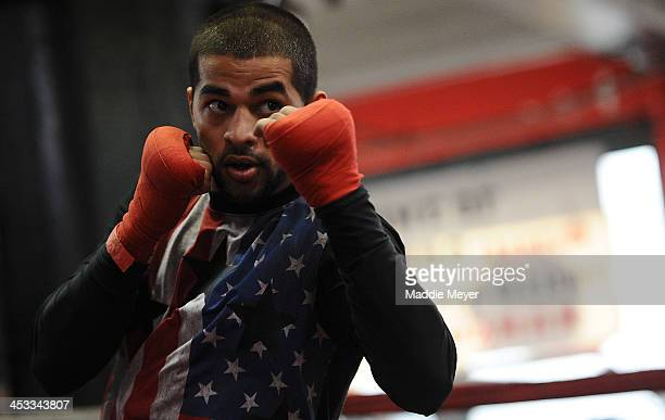 Sadam Ali works out during a training session in preparation for his upcoming fight against Jesus Selig at Gleason's Gym on December 3, 2013 in the...