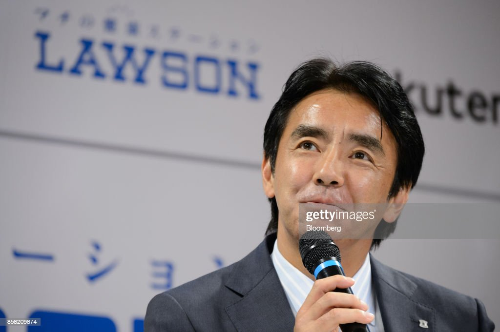 Sadanobu Takemasu, president of Lawson Inc., speaks during a news conference in Tokyo, Japan, on Friday, Oct. 6, 2017. Lawson and Rakuten Inc. will cooperate on drone deliveries in Fukushima's Minamisoma, including the area where the evacuation order was lifted last year. The area was damaged by the 2011 earthquake and tsunami. Photographer: Akio Kon/Bloomberg via Getty Images
