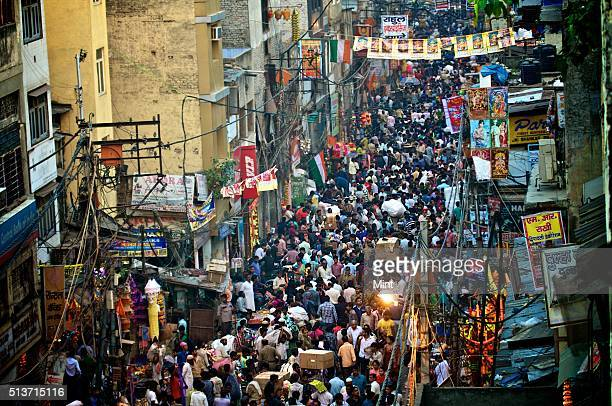 Sadar Bazar market streets crowded with people on the occasion of Dhanteras on October 30 2013 in New Delhi India