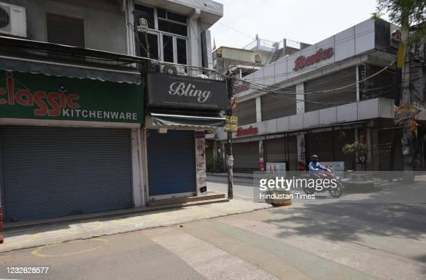 Sadar Bazar near empty during a weekend Lockdown in light of Covid-19, on May 1, 2021 in Gurugram, India.
