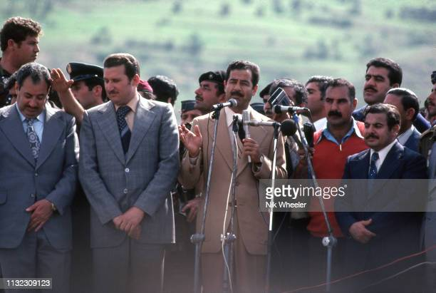 Saddam Huseein then VicePresident of Iraq addresses Kurdish and Iraqi crowd during Nowruz Spring Festival celebrations near Mosul in Northern Iraq...
