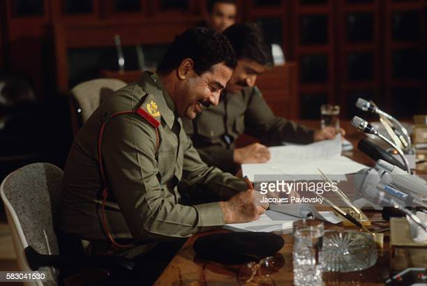 Saddam Hussein called together French journalists to inform them of diplomatic discussions on the way with the French government about Super Etendard...
