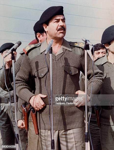 Saddam Hussein harangues his troops during the IranIraq war